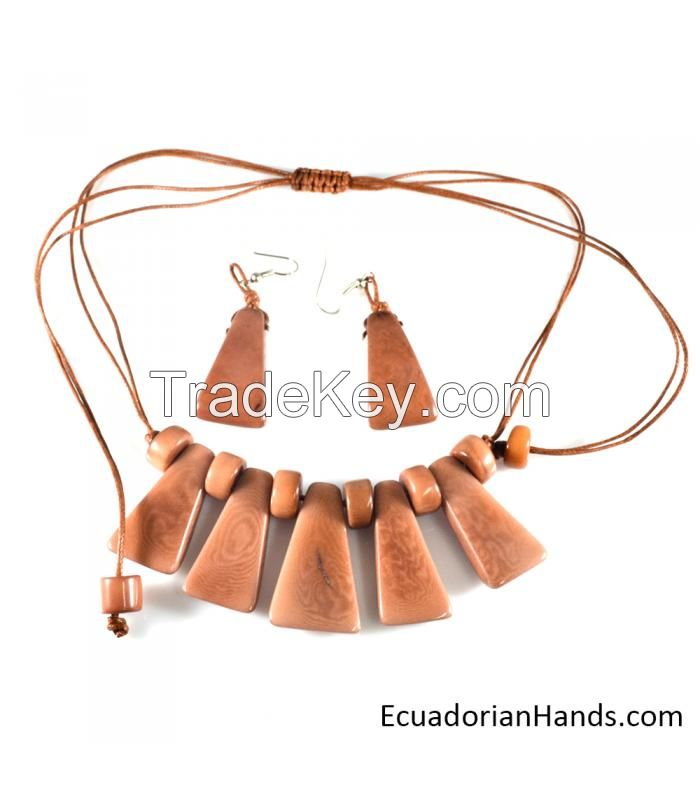 Beaded Jewelry Necklaces and Earrings - Handmade Eco Ivory Tagua (JC001-L)