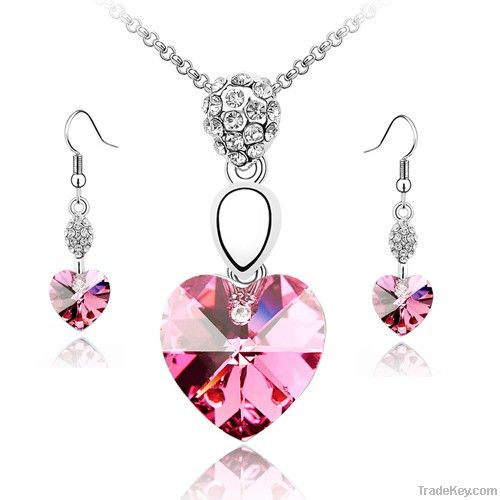 Purple Crystal Love Heart Necklace Sets