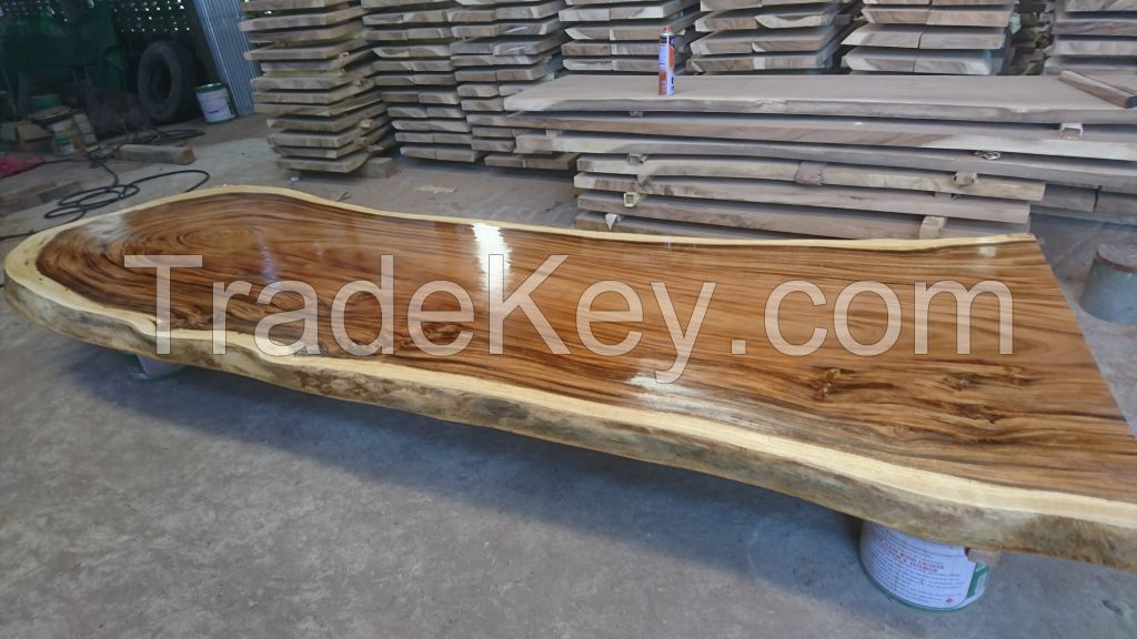acacia wood slab table