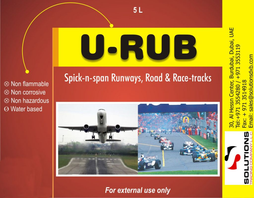 Tyre mark remover from road, runways and race track