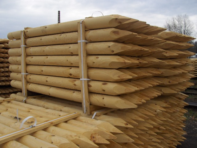 Wooden poles, palisades, turned (rolled) wooden products