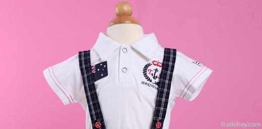 Fashion Summer Babies Boys Navy Lapel T-shirt + Pants