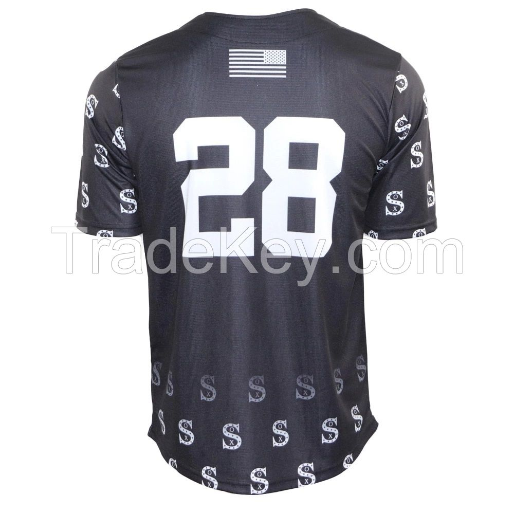 Best Quality custom button polyester short sleeve sublimation men baseball and softball jerseys