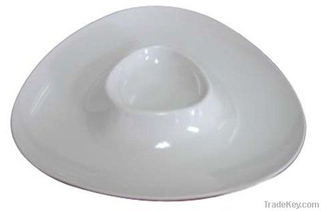 Triangle Melamine Chip and Dip Plate_ With vinegar Dish, Any Color