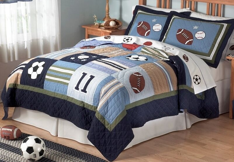 Sports bedding quilt kids sports in twin , queen sets