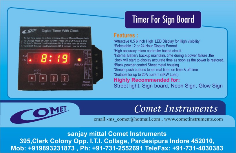 Digital Timer for glow neon , sign board & street light also