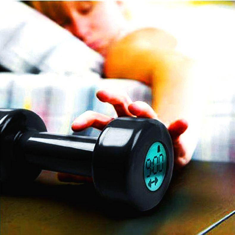 dumbbell unique alarm clock gizmo