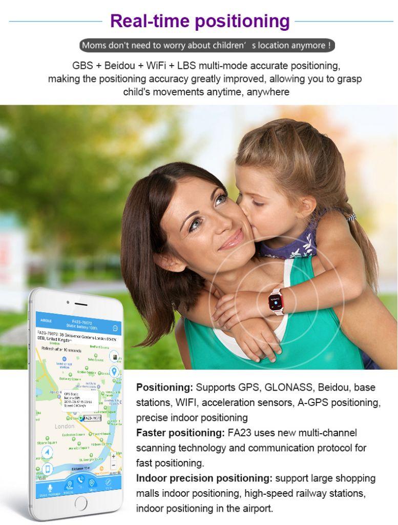 Waterproof Smart Fashionable elegant kids GPS watch