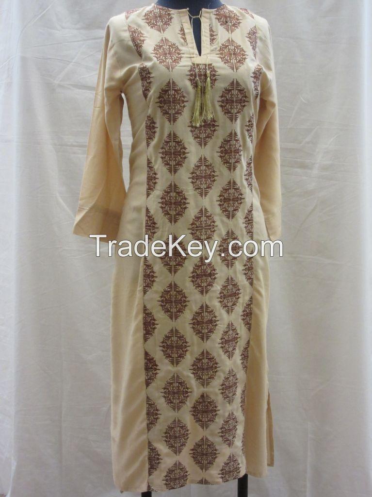 Stylish Wear! Full Embroidered Linen Kurtis
