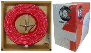 14/2 (14AWG 2C) Solid FPLR Fire Alarm / Security Cable, Red, 1000 ft,