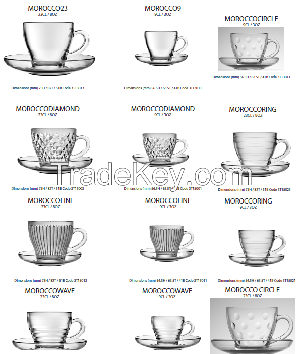 Glass Mugs And Cups and Saucers