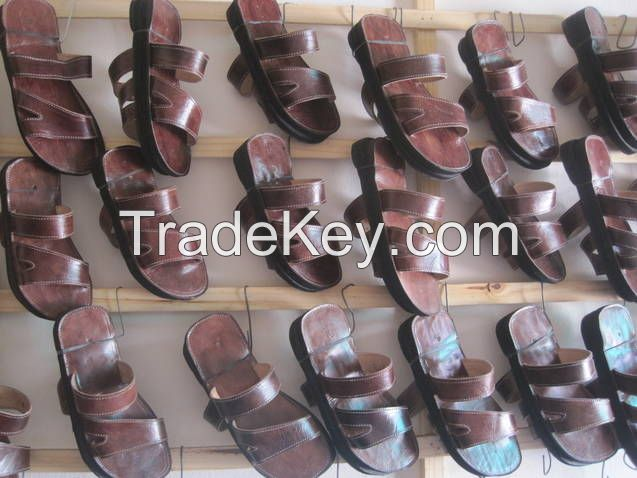 sandals and leather shoes made by hand by my family.