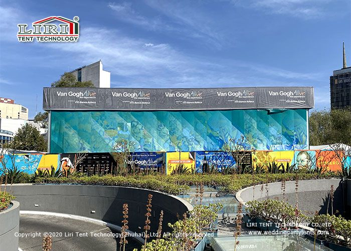 Customized Cube Structure Outdoor Exhibiiton Tents With Ad Position For Art Show