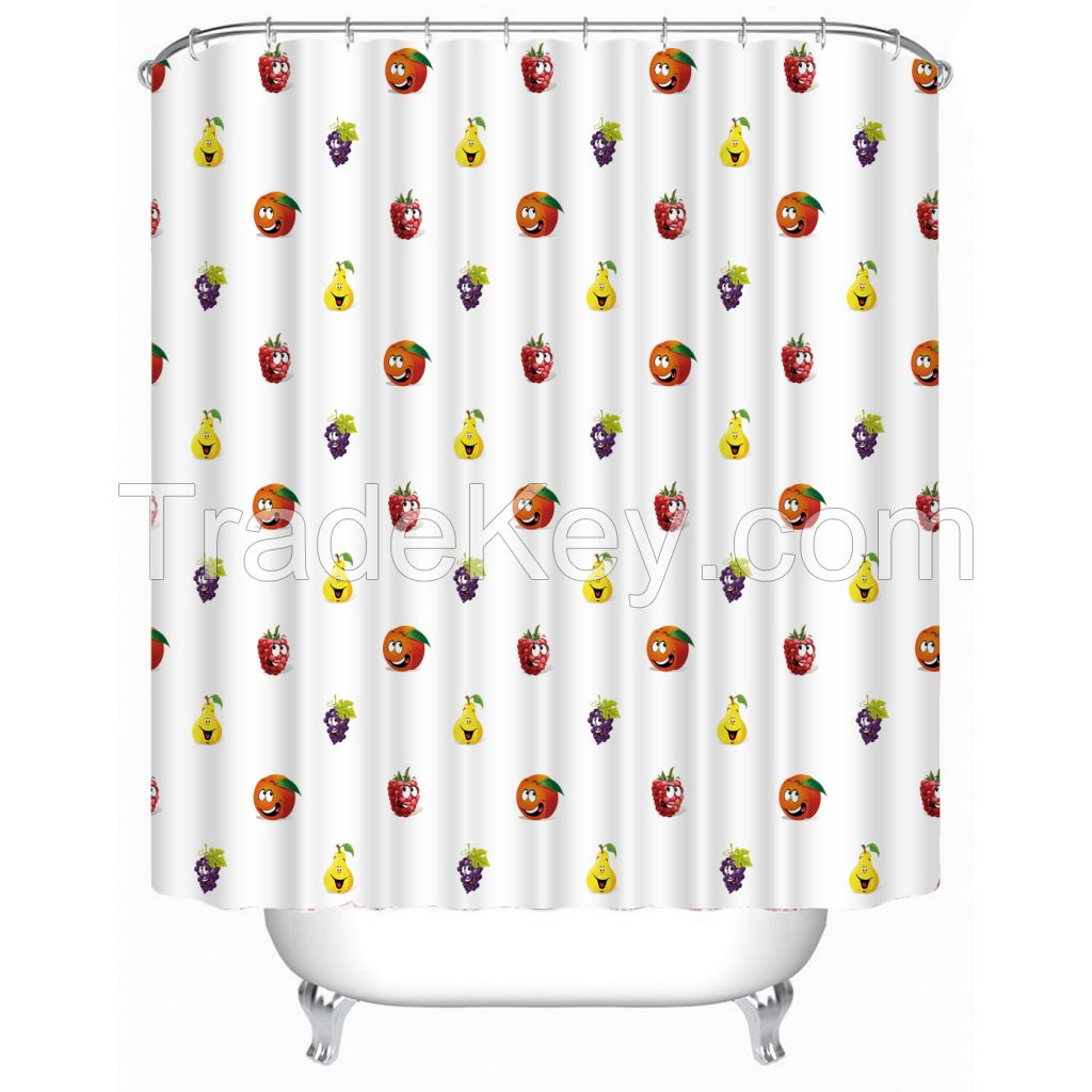 Pear, Raspberry, Cranberry and Grape Polyester Fabric Bathroom Shower