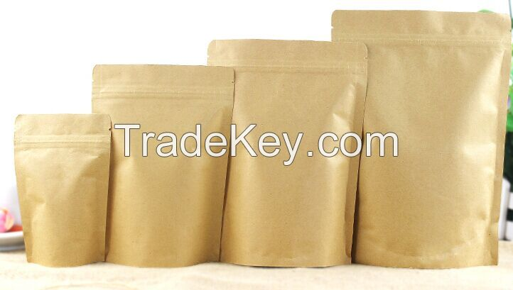 wholesales stand up aluminum Laminated foil kraft paper bags small zipper pouch for food with zipper