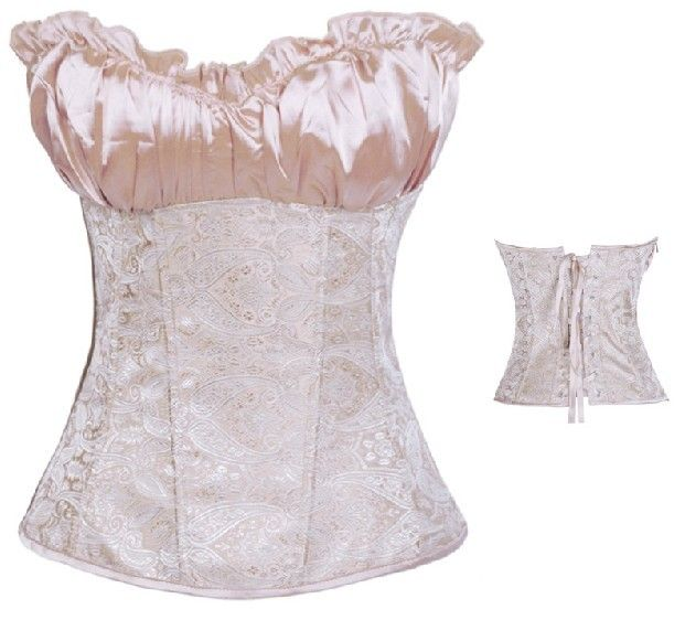 sexy lingerie satin ruffled jacquard corset