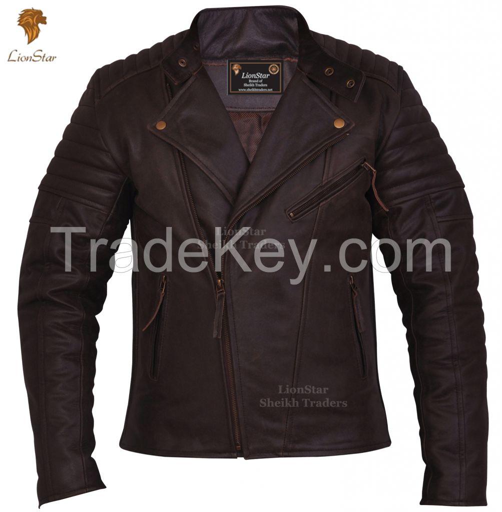 LionStar Brando Men's Real Leather Motorbike Jacket