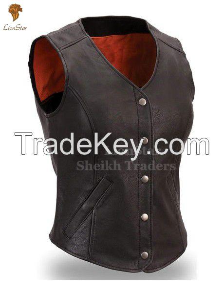 LionStar Stylish Cowboy / Biker Leather Vest For Men and Women