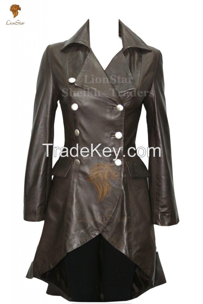 Long Leather Matrix / Victorian Coat For Ladies