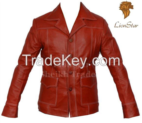 LionStar Fight Club Beautiful Men's Real Leather Fashion Coat/Jacket Slim Fit