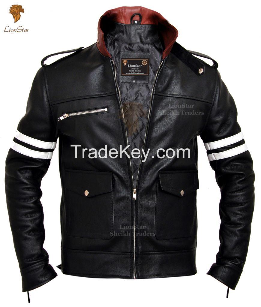 LionStar Beautiful Men's Real Leather Motorbike Jacket