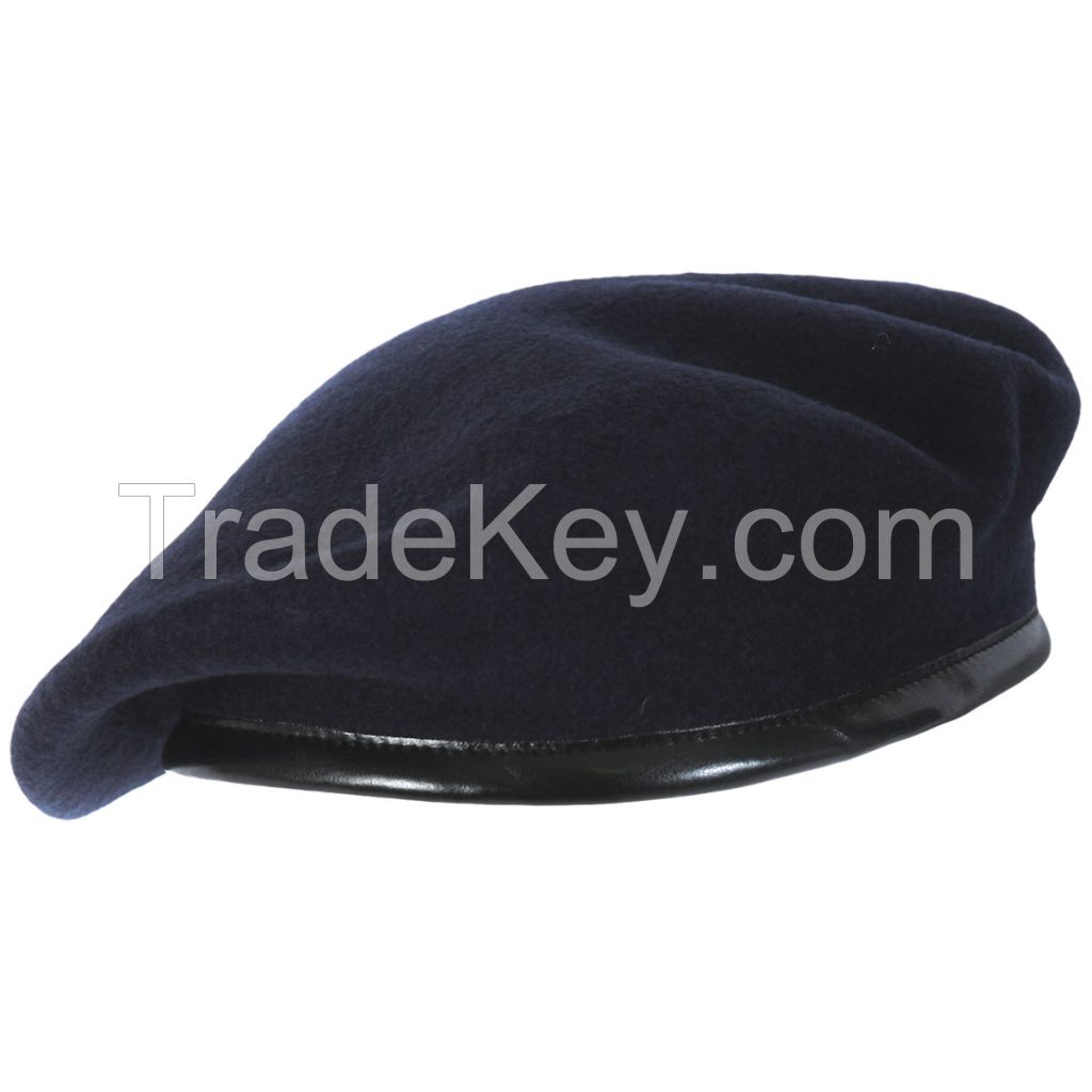 Beret Caps Manufacturers For Military Army Security Police With Cotton Lining Pure Wool Quality