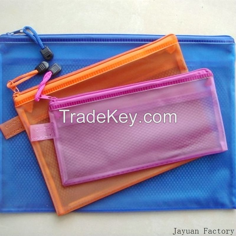 pvc grid zipper bag mesh bag