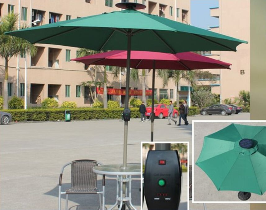 Solar Umbrella with USB Charger LED Light 10000mah Power  Bank