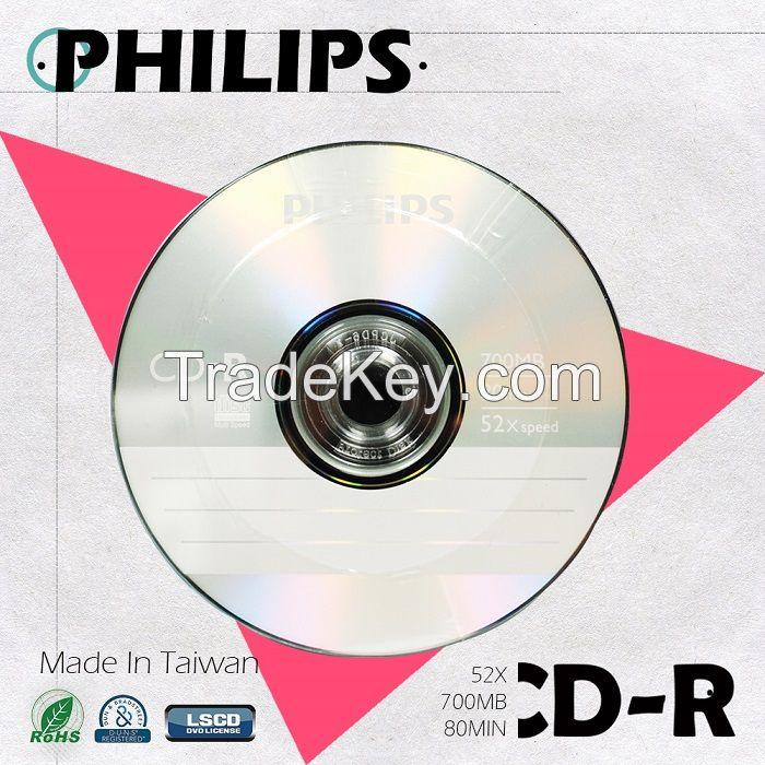 PHILIPS Blank CD-R 52X 700MB Made in Taiwan