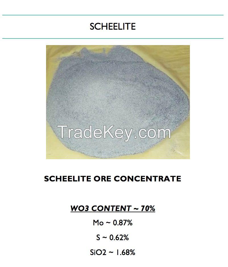 Tungsten Ore Concentrate, Scheelite, Wolfram, WO3 HIGH 70%