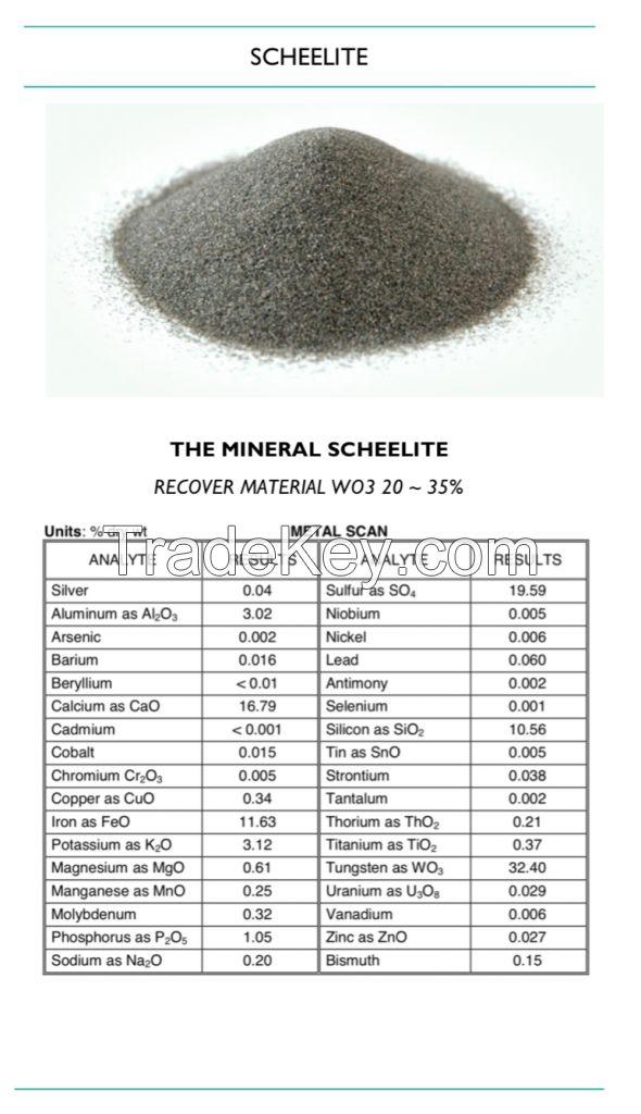 Tungsten Ore Concentrate, Scheelite, Wolfram, WO3 LOW 30%