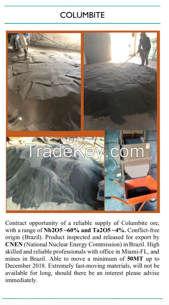 Columbite Ore Concentrate 60% Nb2O5