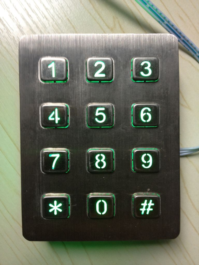 3x4 layout stainless steel backlit keypad