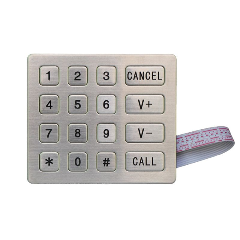 16 keys industrial stainless steel keypad for access control system