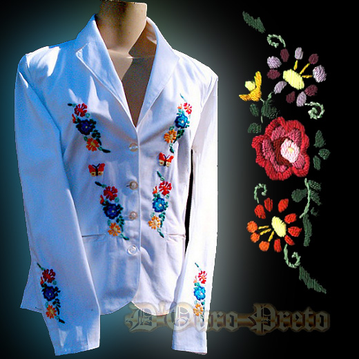 Hand embroidered doubled cotton Blazer