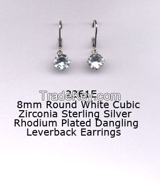 Cubic Zirconia Sterling Silver Rhodium Plated Dangling Leverback Earrings