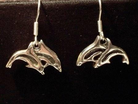 Sterling Silver Double Dolphin Earrings