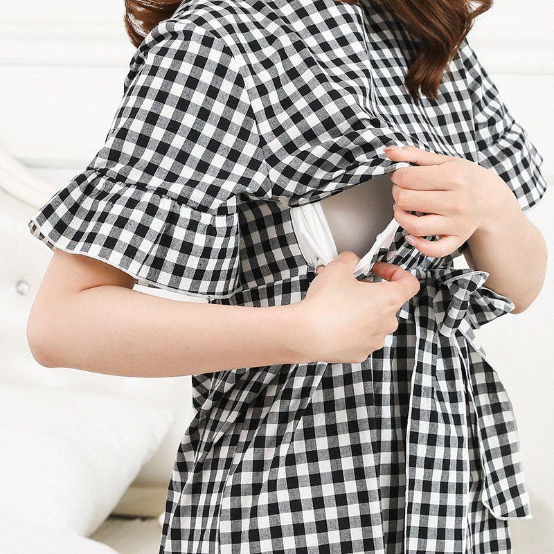 Summer Cotton Shortsleeve Pregnant Women Shirt Dress Breastfeeding Plaid Nursing dresses Pregnancy Clothes Loose Maternity Dress