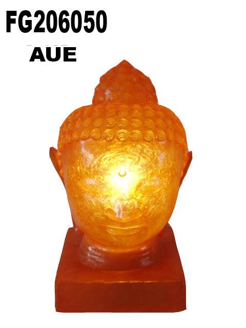 FIBERGLASS BUDDHA HEAD LAMP WITH BASE