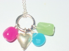 Genuine Gemstone Sterling Silver Heart Necklace