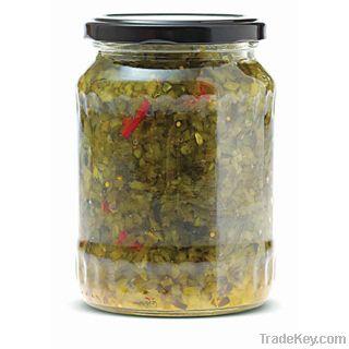 Gherkins -Pickled Cucumbers in Glass Jar