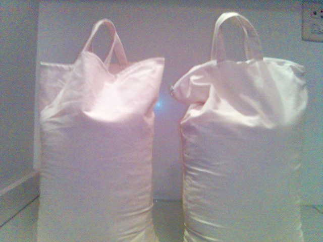 Cotton bags,yellow duster,towels