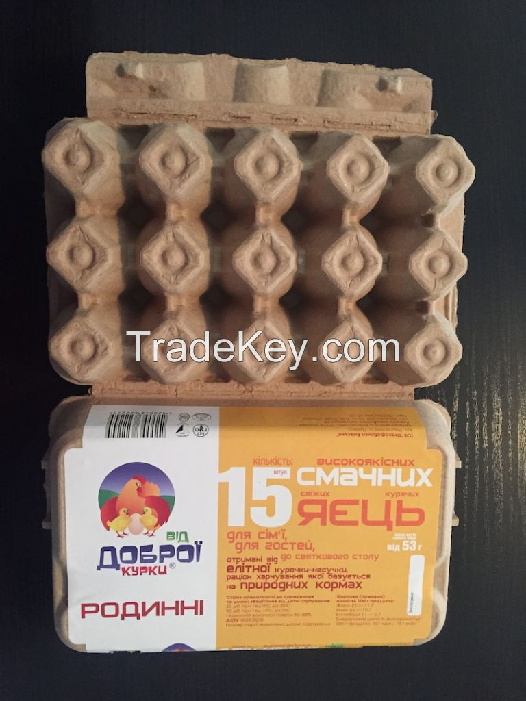 Egg carton for 15 cells with label and inside print