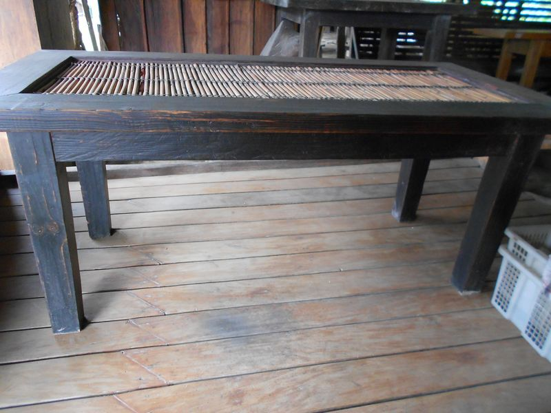 Wooden tables, chairs, bed, console table, etc.