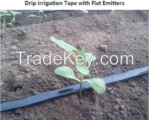 Drip Irrigation tape with flat emitters