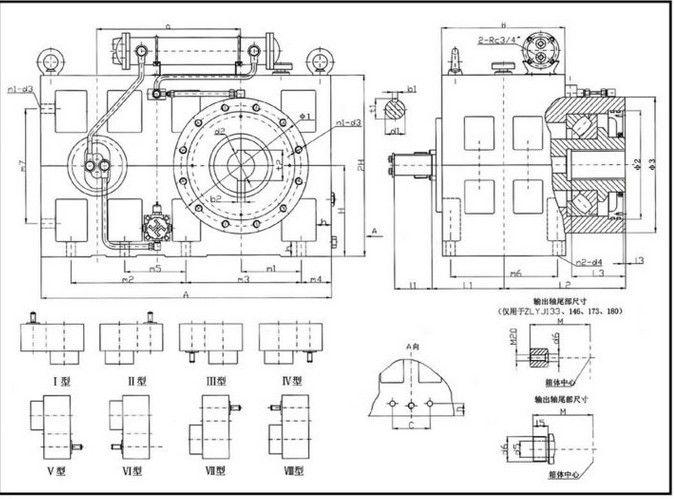 ZLYJ 133-8 single screw extruder reduction gear box