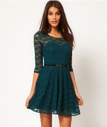 FASHION NEW SEXY WOMEN'S ROUND NECK LACE SLIM COCKTAIL LADY CASUAL MINI DRESS