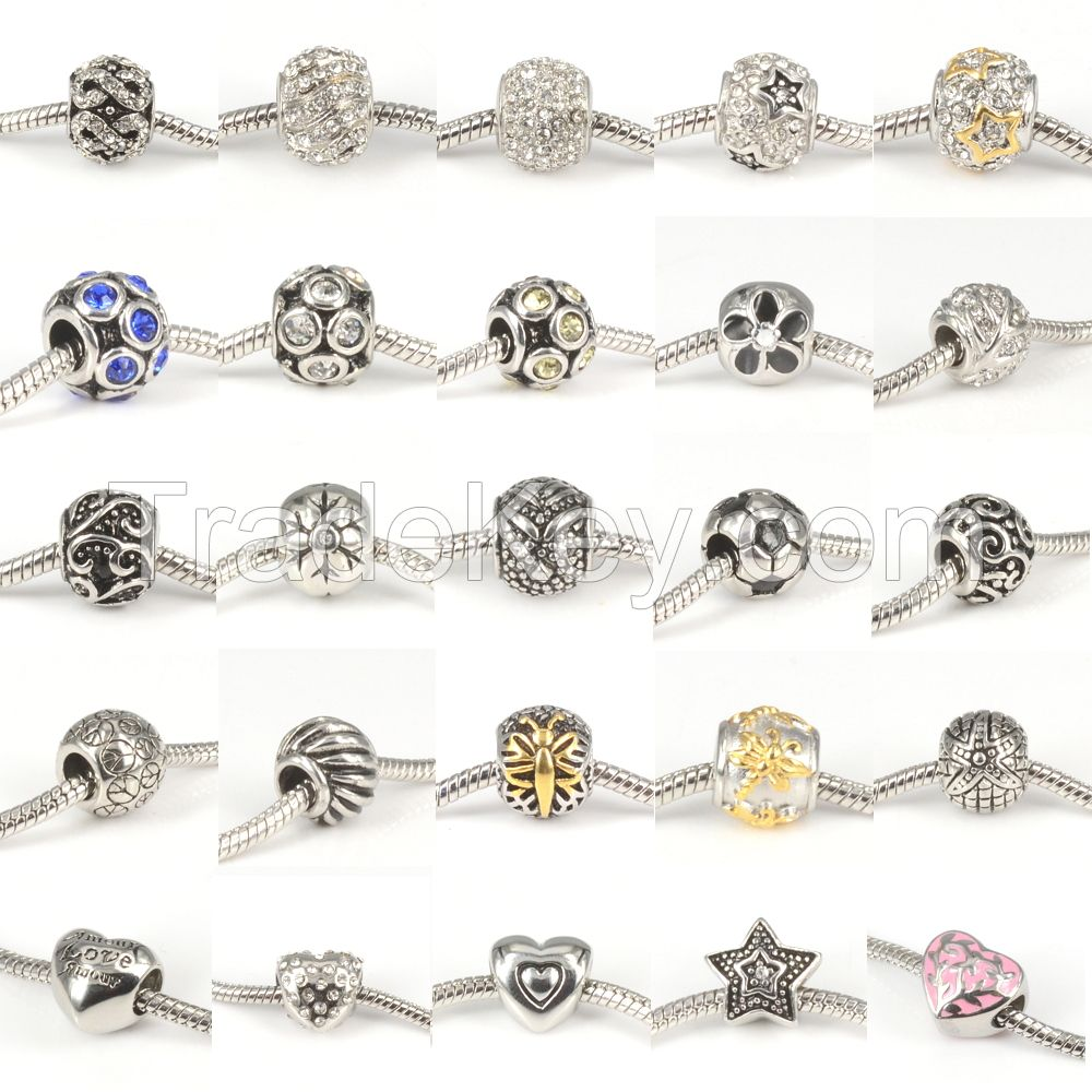 Stylish 316L Stainless Steel Spacer Charms Beads Fit European Bracelets Women's DIY Jewelry Makings