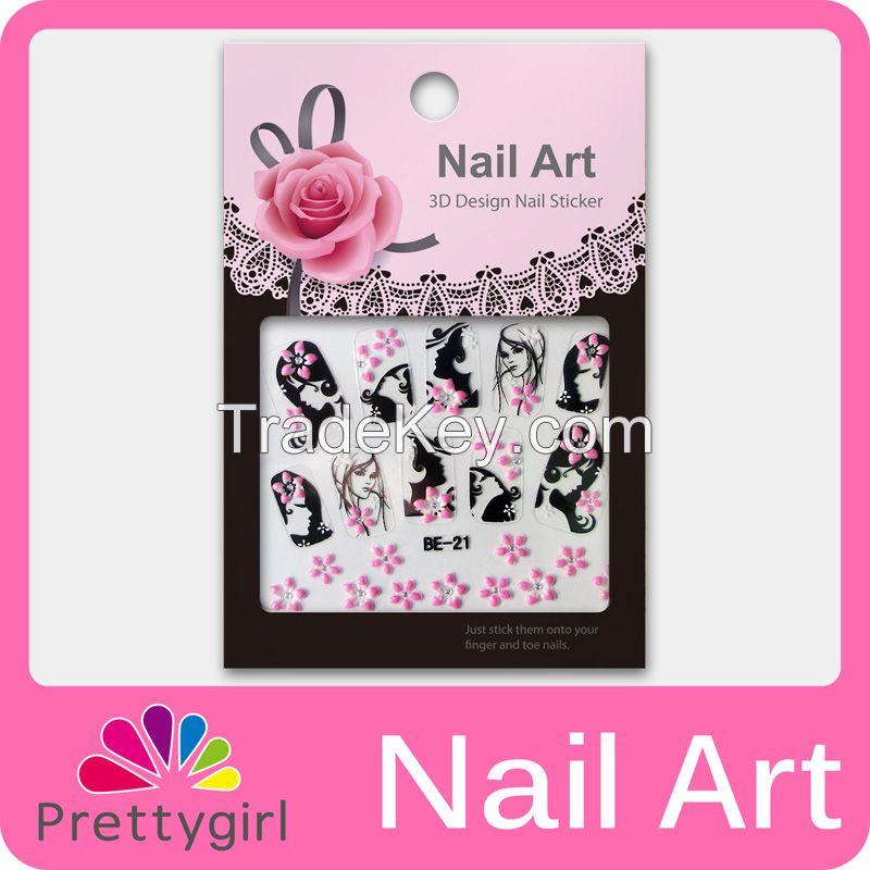 3D Nail Art Sticker Lovely Flower Butterfly Cat Nail Printer Decoration