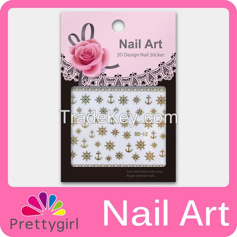 3D Nail Art Stickers Deep Golden Flower Butterfly Heart Nail Printers